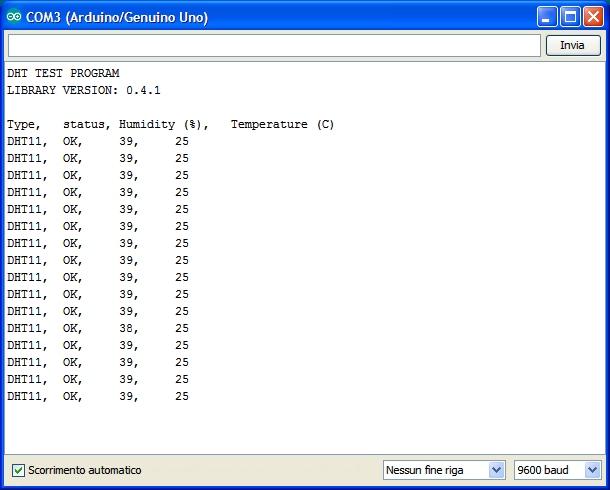 sensore dht11 arduino
