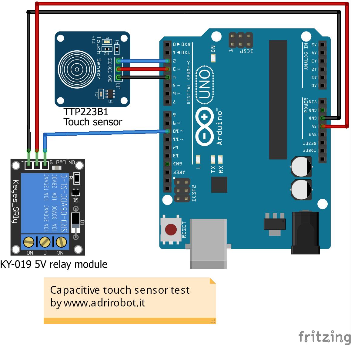 Utilizzo sensore capacitivo TTP223B