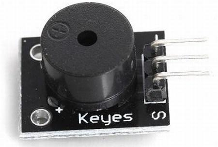 """Modulo KY-006 Small passive buzzer Il modulo KY-006 Small passive buzzer fa parte della serie """"37 In 1 Sensor Module Board Set Kit For Arduino"""", si presenta come un piccolo circuito, su di esso sono montati, un buzzer e un connettore a 3 pin, di cui solo 2 sono attivi, in quanto sono necessari solo il pin del segnale, indicato con il simbolo """"S"""" e quello di massa indicato con il simbolo """"-"""". Il modulo è simili al KY-012 Active buzzer module sul quale è montato un buzzer attivo."""